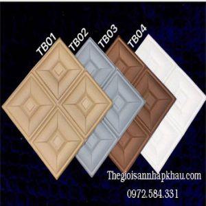 Bảng màu xốp dán tường 3d giả da ô vuông ảnh bìa